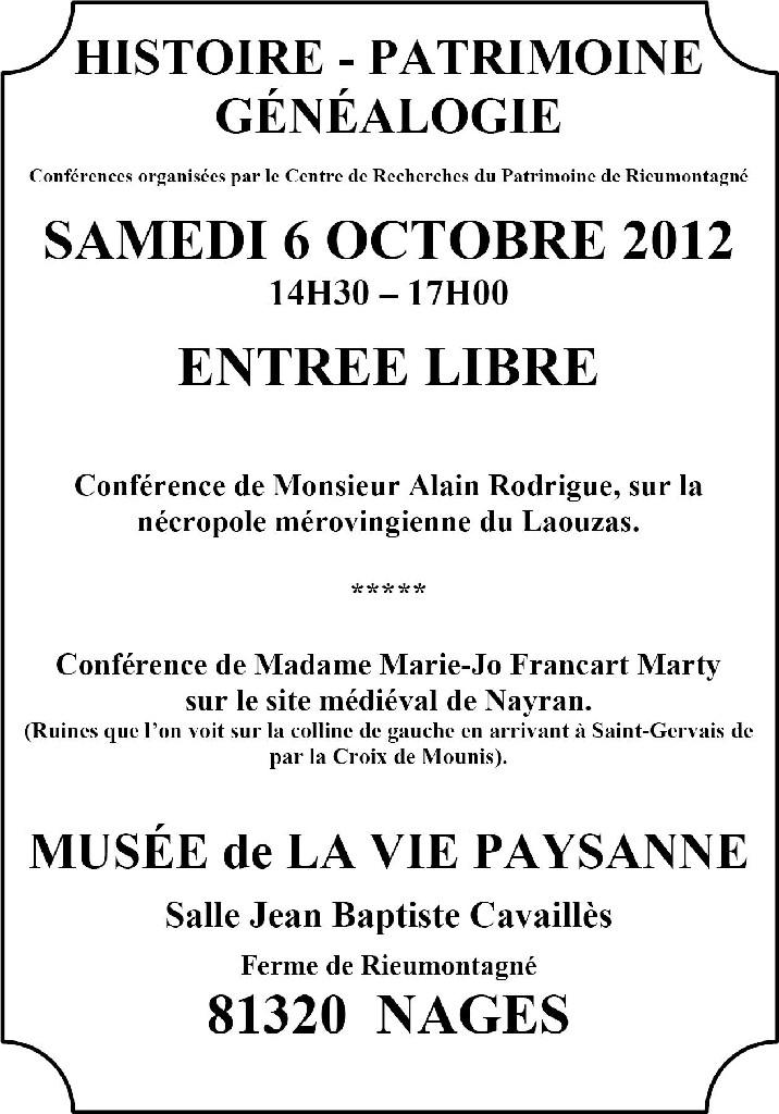 Après-midi du patrimoine - 6 octobre 2012
