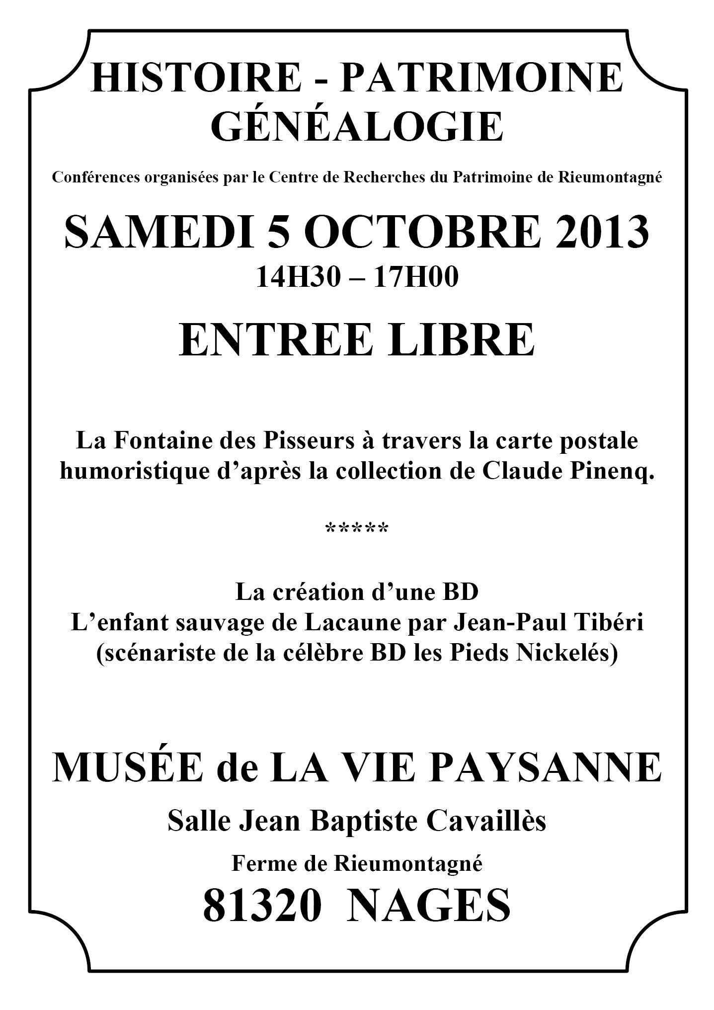 Samedi 5 octobre 2013 – Après-midi du patrimoine
