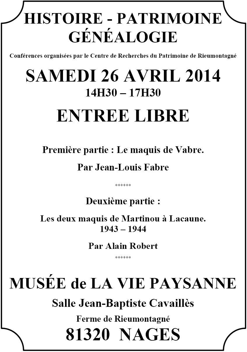 Samedi 26 avril 2014 – Après-midi du patrimoine
