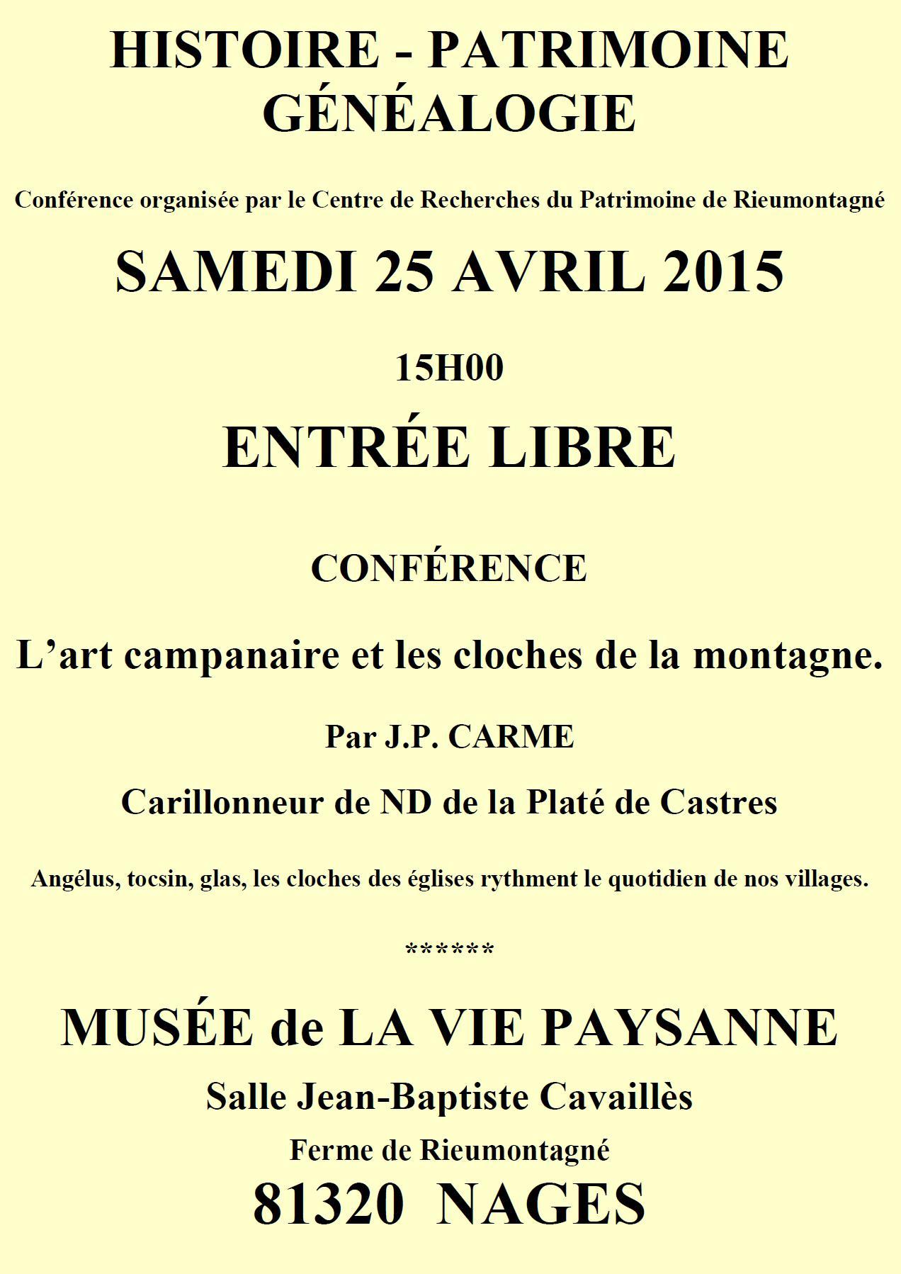 Samedi 25 avril 2014 – Après-midi du patrimoine