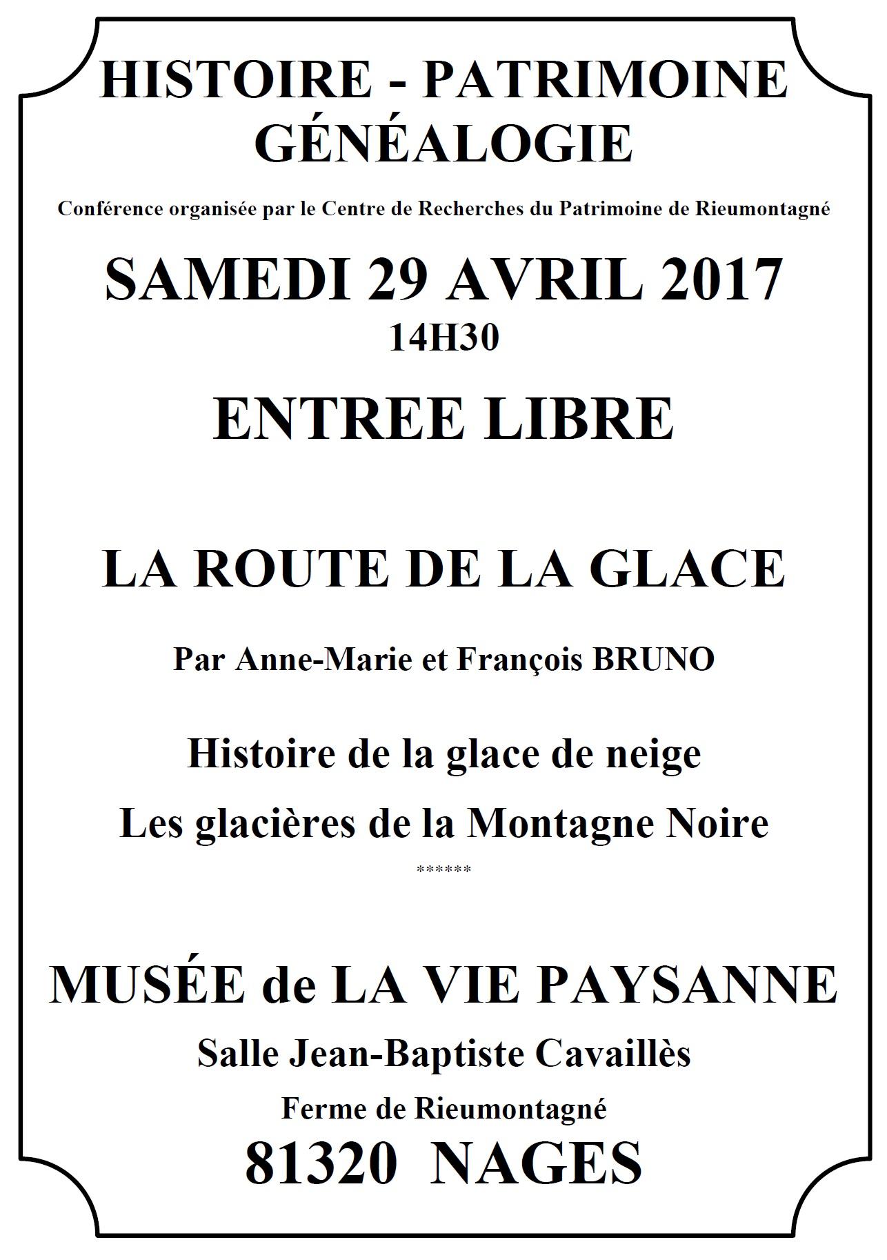 Samedi 29 avril 2017 – Après-midi du patrimoine sur la route de la glace
