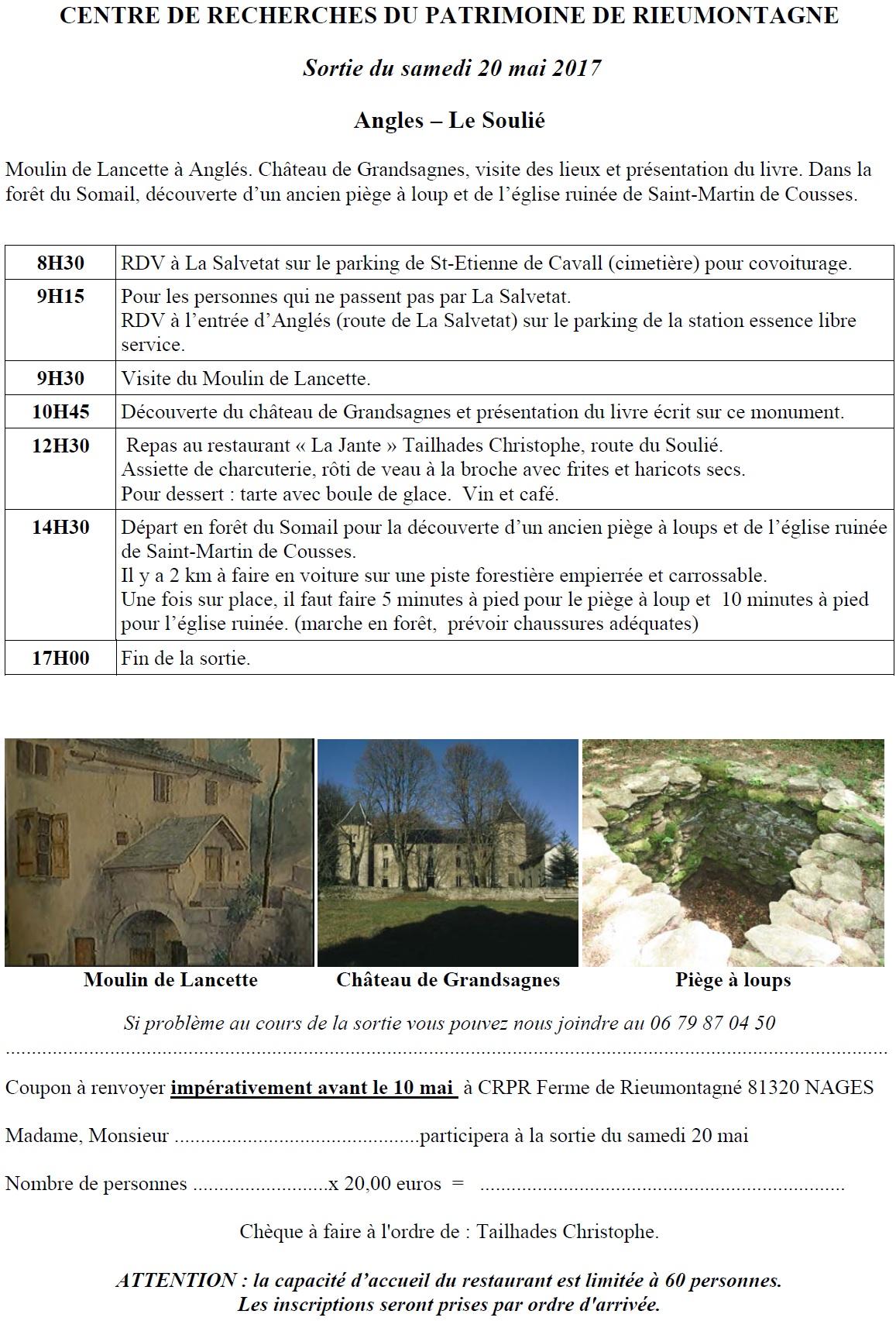 20 mai 2017 – Anglès – le château de grandsagnes, le moulin de Lancette, Saint-martin des Cousses