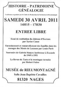 Apres-midi du patrimoine - 30 avril 2011