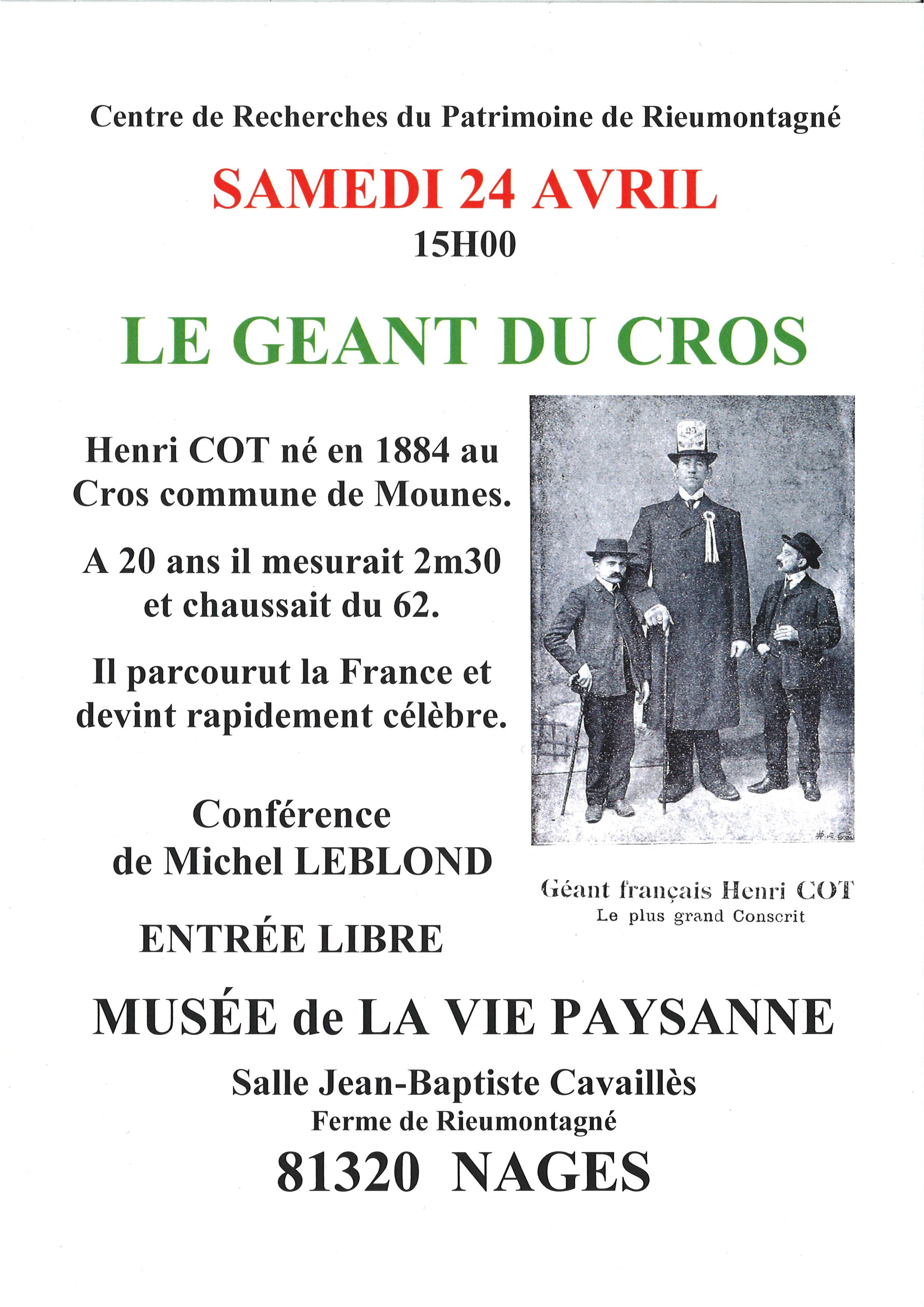 conférence Géant du Cros